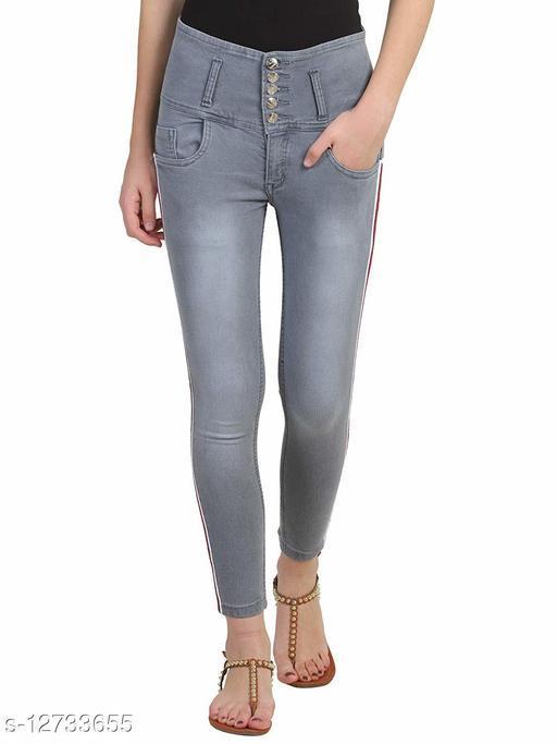 KS COLLECTION women's Side Stripes High Waist Ankle Length Denim Jeans (Grey)