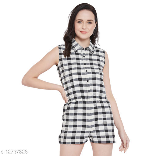 Ruhaan's Womens Cotton Checked Black and White Playsuit