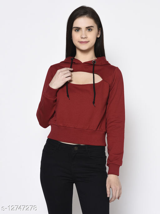Rigo Women Maroon Hooded Fleeve Sweatshirt