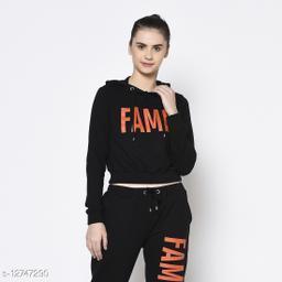 Rigo Women Black Hooded Printed Crop Terry Sweatshirt