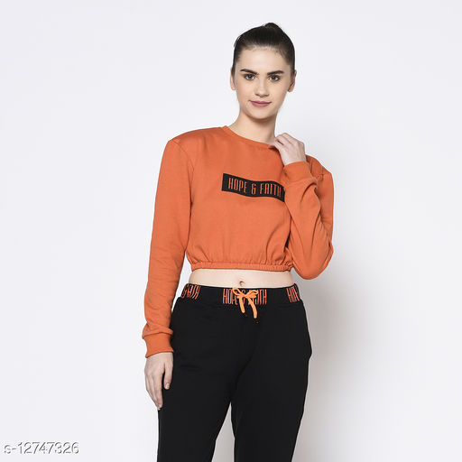 Rigo Women Round Neck Printed Crop Fleece Sweatshirt
