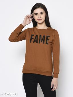 Rigo Women Camel Brown Printed Round Neck Fleece Sweatshirt