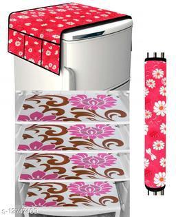 LooMantha Combo Pack of 1 Pc Fridge Top Cover, 1 Pc Handle Cover, 4 Pc Fridge Mat