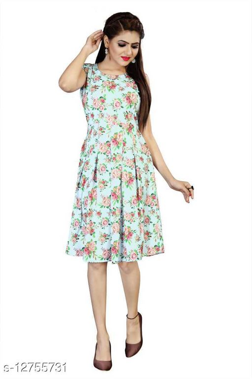 Women Fit and Flare Rose Printed Dress