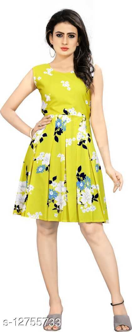 Women Fit and Flare Yellow Dress