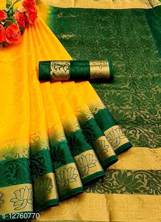 Woven Banarasi Yellow & Green Color Jacquard Silk Saree for Women