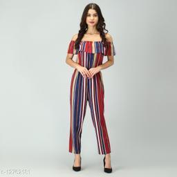 Off-Shoulder Elastic Waist Soft Ruffles Striped Jumpsuit