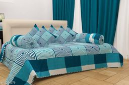 HOMYBEES Heavy Glace Cotton Diwan Set - 1 Single Bedsheet with 2 Bolster Cushion and 5 Cushion Covers