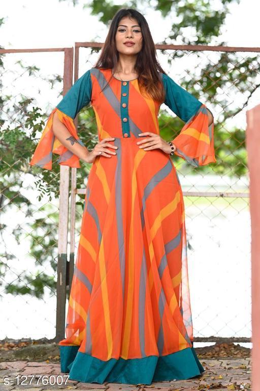 Mesmerising Orange Colored Partywear Printed Gerogette-Tapetta Silk Gown