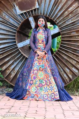 Pleasance Blue - Multi Colored Partywear Printed Pashmina Top-Skirt Set With Shrug
