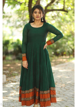 Beautifull dark green colored cotton designer gown