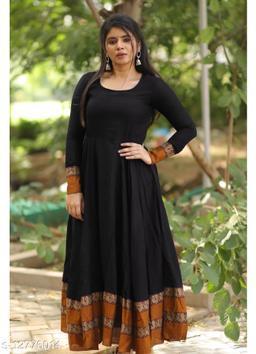 Beautifull Black colored cotton designer gown