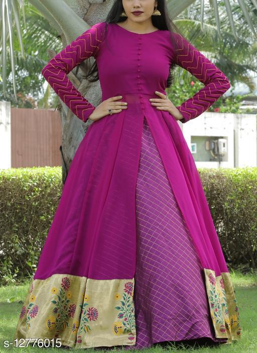 Ethnic Purple Colored Partywear Printed Georgette Top-Skirt Set