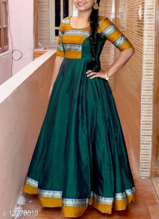 Beautifull Green colored tafeta silk designer gown