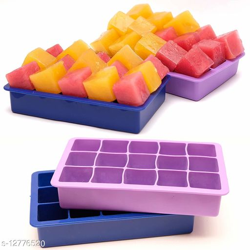 Easy Release Flexible Silicone Whiskey Ice Ball Maker,Ice Tiny Cube Trays Chocolate Mould Maker for Kitchen Bar Party Drinks-Multi Color. (ICE CUEB 15 SEC)