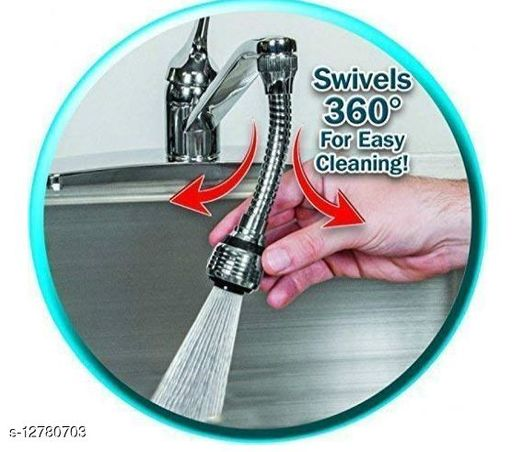 Steel Turbo Flex 360 Flexible 6 Faucet Sprayer Extension Jet Stream/Water Saving Faucet (Silver)