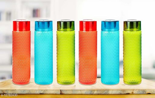 Bizello Water Bottles For College/School/Office   Pack of 6 Bottles   Multicolor   1 lt each
