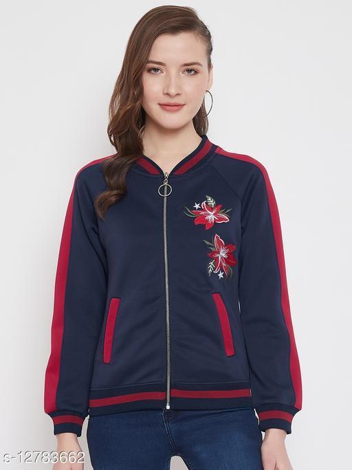 Austin Wood Women's Navy Blue Full Sleeves Mandrain Collar Zipper Sweatshirt