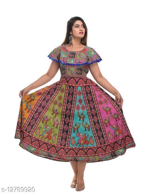 Jaipuri print  pumfum attached Dresses
