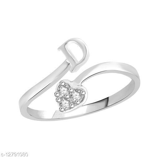 Netra Fashion Jewellery Initial  'D'  Rhodium Plated Alphabet Ring For Women and Girls