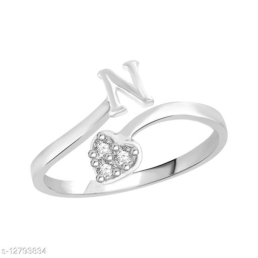 Netra Fashion Jewellery Initial  'N'  Rhodium Plated Alphabet Ring For Women and Girls