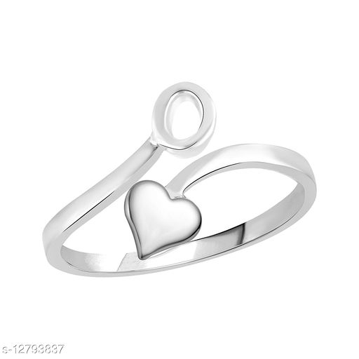 Netra Fashion Jewellery Initial  'O'  Rhodium Plated Alphabet Ring For Women and Girls