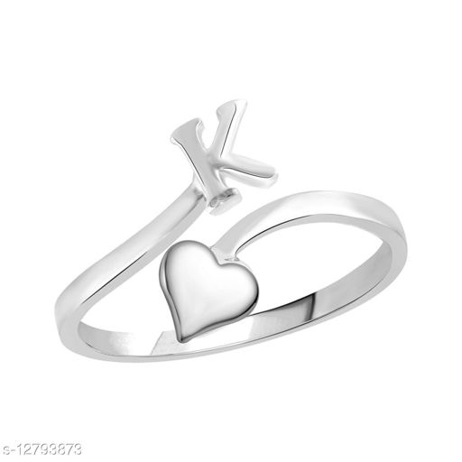 Netra Fashion Jewellery Initial  'K'  Rhodium Plated Alphabet Ring For Women and Girls