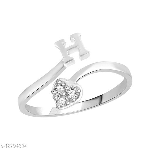Netra Fashion Jewellery Initial  'H'  Rhodium Plated Alphabet Ring For Women and Girls
