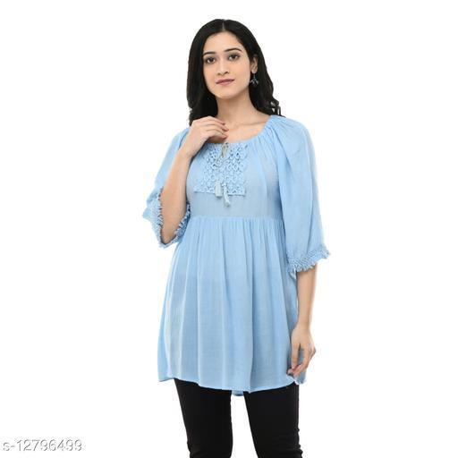 MAAHI Women's Rayon Sky Blue Embroidery Casual Top