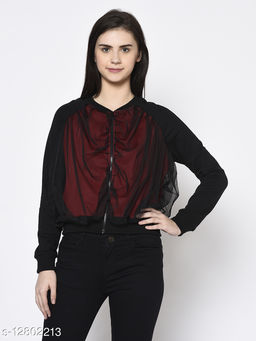 Rigo Women Maroon Black Fleece With Net Layering  Bomber Jacket
