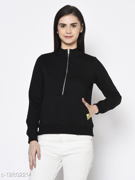 Rigo Women Black Zip-Up Stand Collar With Kangaroo Pocket Fleece Sweatshirt