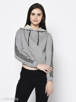 Rigo Women Grey Hooded with Printed Sleeve Fleece Crop Sweatshirt