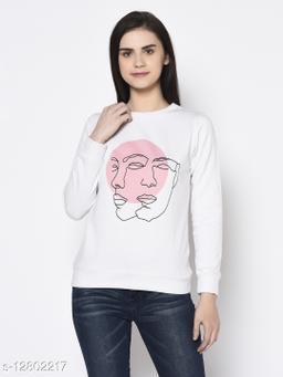 Rigo Women White Printed Round Neck Fleece Sweatshirt