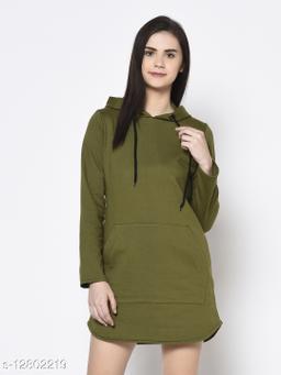 Rigo Women Olive Green Hooded Full Sleeve Fleece Dress Sweatshirt