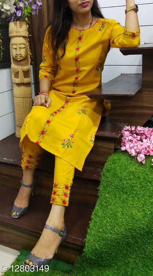 Women Cotton Slub A-line Embroidered Mustard Kurti