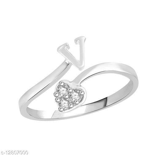 Netra Fashion Jewellery Initial  'V'  Rhodium Plated Alphabet Ring For Women and Girls