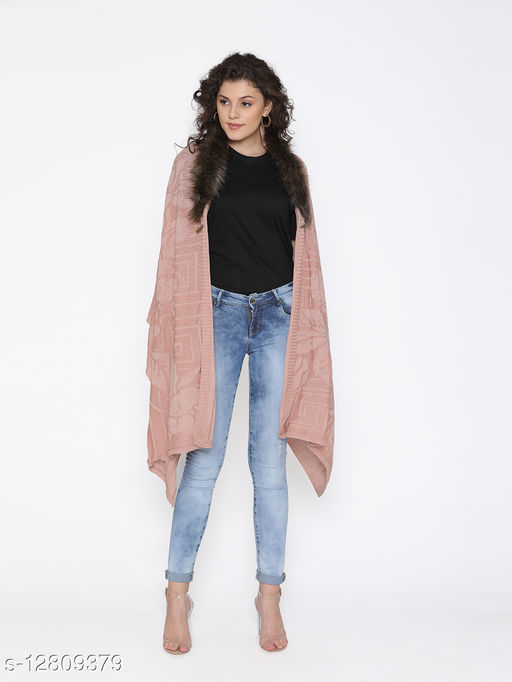 Rosso Milano Beige color acrylic wool self Designe knitted shawal has fur neck styling