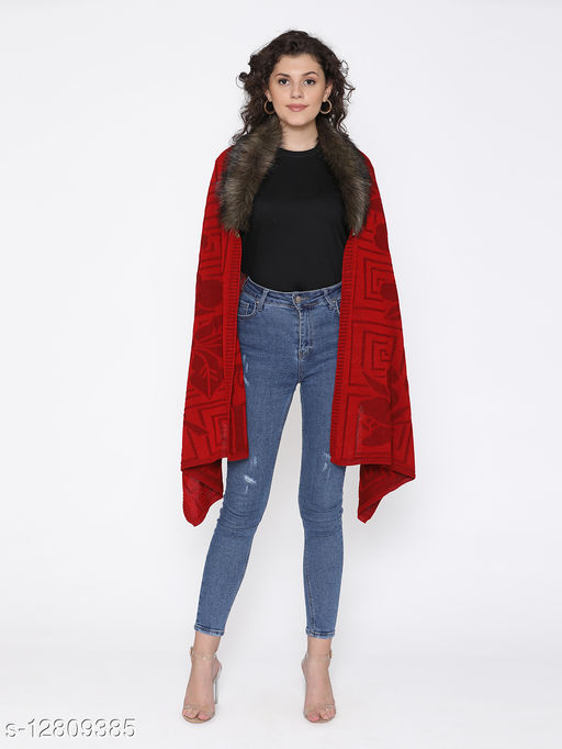 Rosso Milano Red color acrylic wool self Designe knitted shawal has fur neck styling