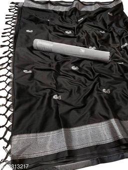MH Traditional Paithani Silk Sarees With Contrast Blouse Piece (Black  &  Silver)