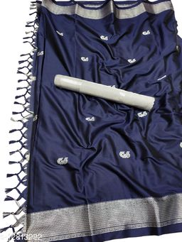 MH Traditional Paithani Silk Sarees With Contrast Blouse Piece (Navy Blue  &  Silver)