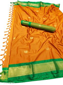 MH Traditional Paithani Silk Sarees With Contrast Blouse Piece (Dark Orange & Green)