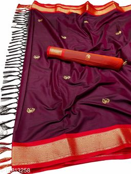 MH Traditional Paithani Silk Sarees With Contrast Blouse Piece (Wine  &  Red)