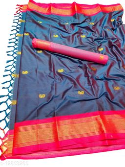 MH Traditional Paithani Silk Sarees With Contrast Blouse Piece (Morpankhi  &  Pink)