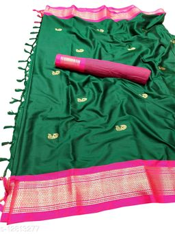 MH Traditional Paithani Silk Sarees With Contrast Blouse Piece (Bottle Green  &  Rani)