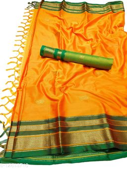 Irkal Traditional Paithani Silk Sarees With Contrast Blouse Piece (IP14_Orange &  Green)