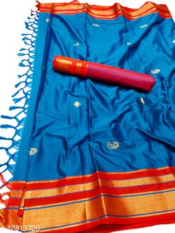 Irkal Traditional Paithani Silk Sarees With Contrast Blouse Piece (IP13_Sky Blue &  Red)