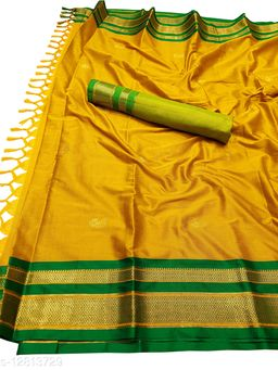 Irkal Traditional Paithani Silk Sarees With Contrast Blouse Piece (IP12_Mustard &  Green)