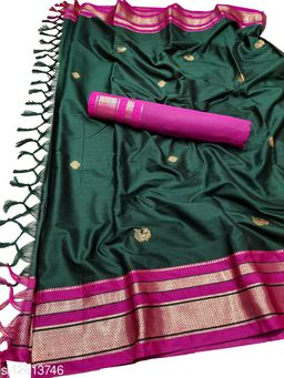 Irkal Traditional Paithani Silk Sarees With Contrast Blouse Piece (IP11_Bottle Green &  Rani)