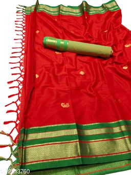 Irkal Traditional Paithani Silk Sarees With Contrast Blouse Piece (IP10_Red &  Green)