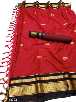 Irkal Traditional Paithani Silk Sarees With Contrast Blouse Piece  (Red & Black)